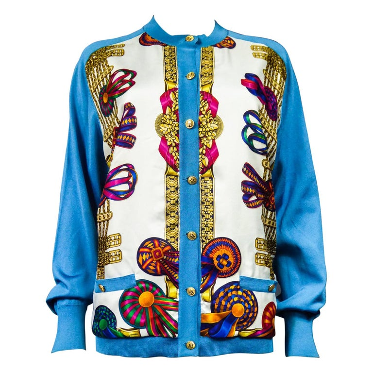 A Hermès Cardigan Jacket in Silk Knit and Silk Print - France Circa 2000 For Sale