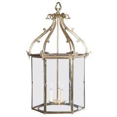 Hexagonal Georgian Style Brass Hall Lantern, circa 1900