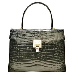 A high quality black crocodile handbag, France, 1980s.