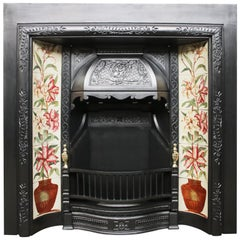 High Qulaity Antique Late Victorian Cast Iron and Tiled Fireplace Insert