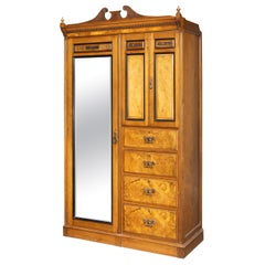 Highly Complex Late 19th Century Gentleman's Burr Walnut and Maple Wardrobe