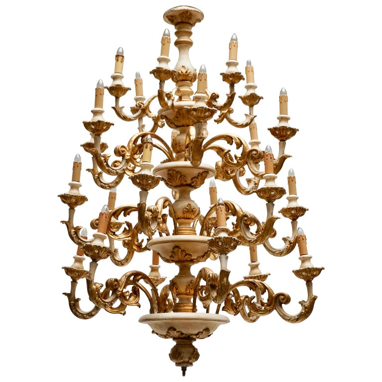 Highly Decorative and Elegant Gilded 24-Light Castle Chandelier For Sale