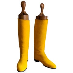 Highly Decorative Pair of Bright Yellow English Edwardian Riding Boots