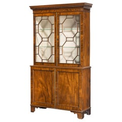 Highly Figured George III Period Mahogany China Cabinet