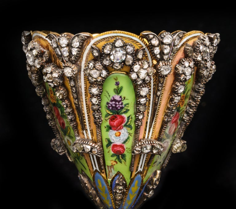 Highly Important Museum Quality Pair of Diamond and Enamel Zarfs For Sale 6