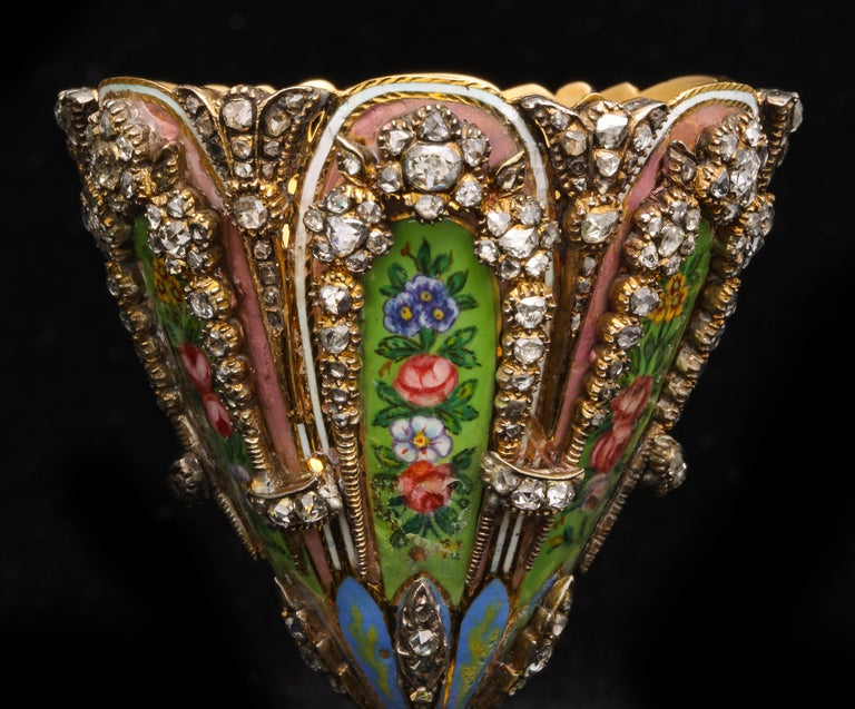 Highly Important Museum Quality Pair of Diamond and Enamel Zarfs For Sale 7