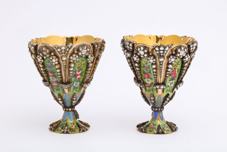 Highly Important Museum Quality Pair of Diamond and Enamel Zarfs In Excellent Condition For Sale In New York, NY