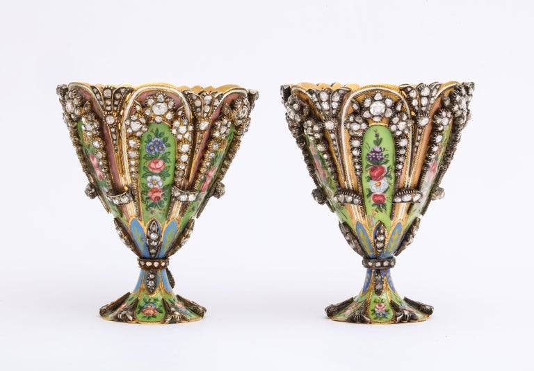Women's or Men's Highly Important Museum Quality Pair of Diamond and Enamel Zarfs For Sale