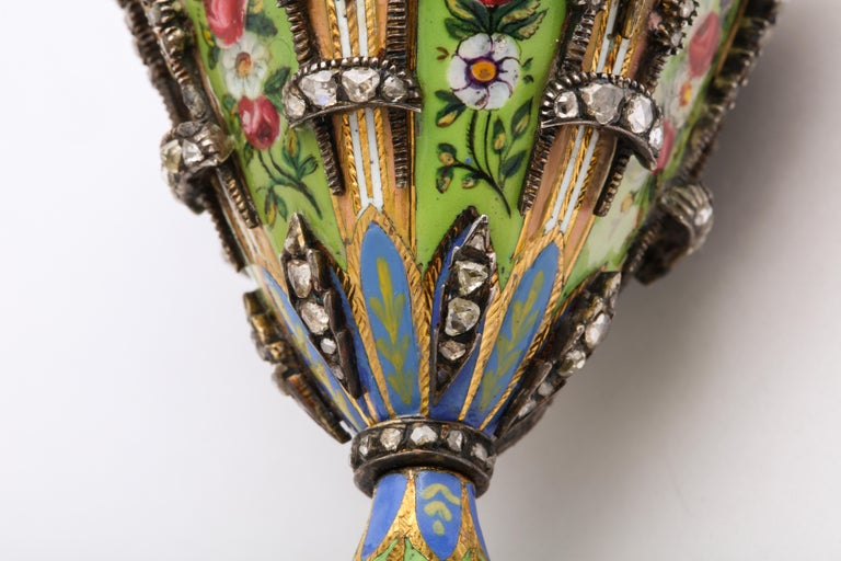 Highly Important Museum Quality Pair of Diamond and Enamel Zarfs For Sale 1