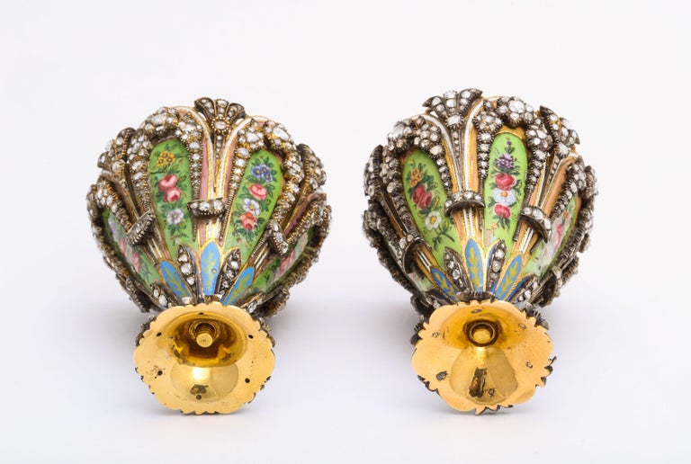 Highly Important Museum Quality Pair of Diamond and Enamel Zarfs For Sale 4