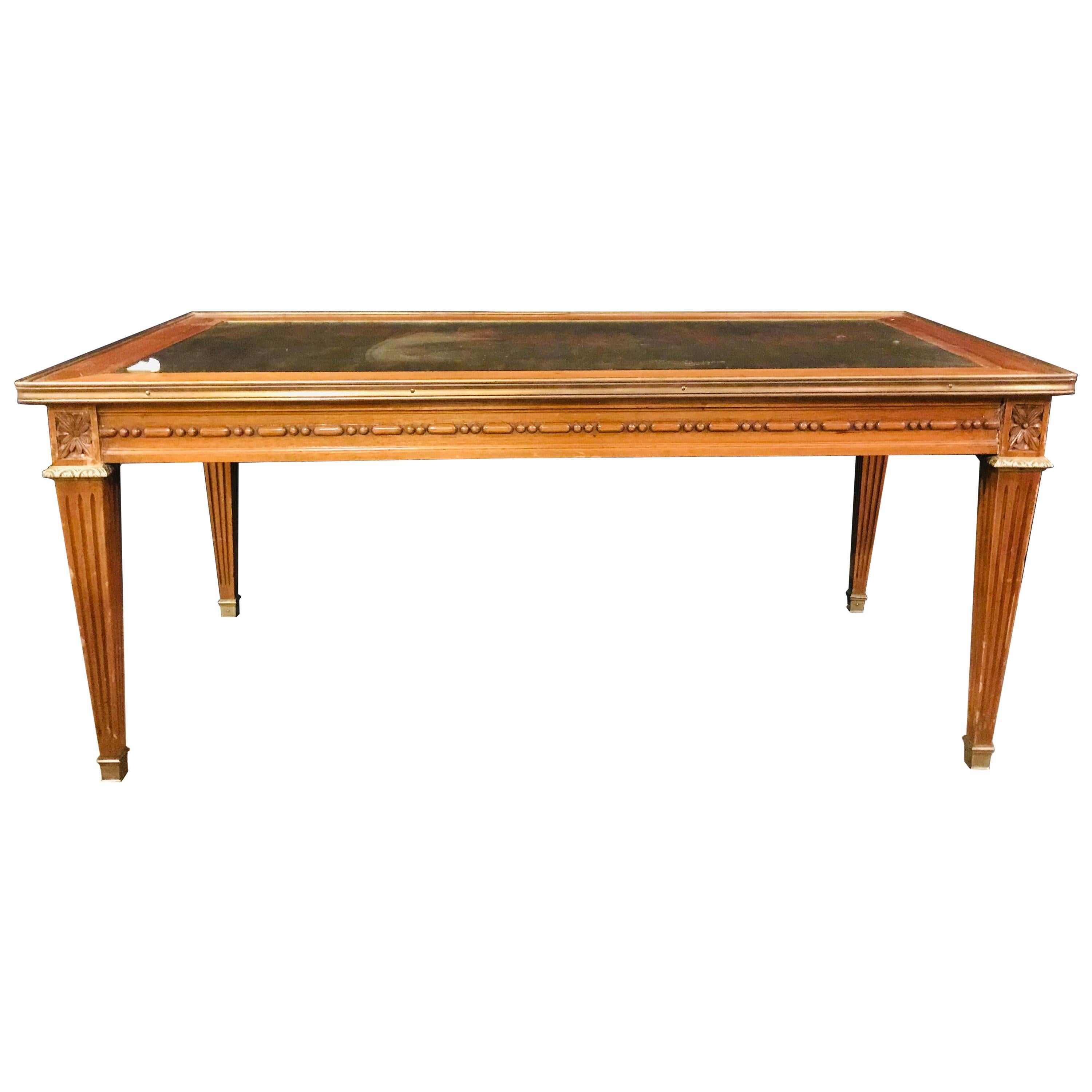 Hollywood Regency Mahogany Gilt Glass Top Jansen Style Coffee Table