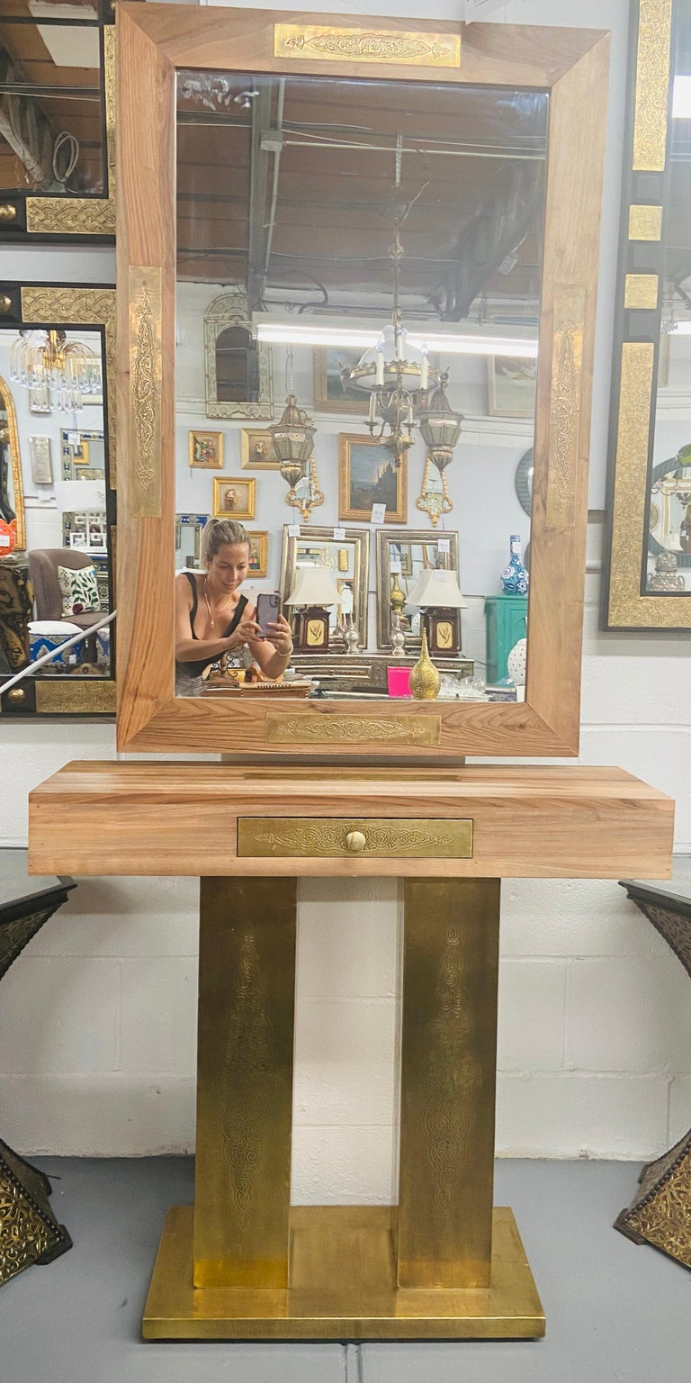 Late 20th Century Hollywood Regency Style Brass and Walnut Mirror and Console Table Set For Sale