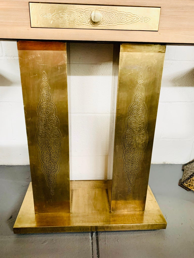 Hollywood Regency Style Brass and Walnut Mirror and Console Table Set For Sale 3