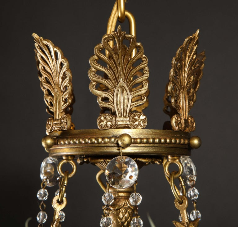 Hollywood Regency Style Gilt Bronze and Glass Figural Chandelier For Sale 8