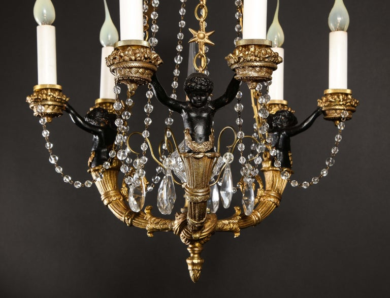 Hollywood Regency Style Gilt Bronze and Glass Figural Chandelier For Sale 9