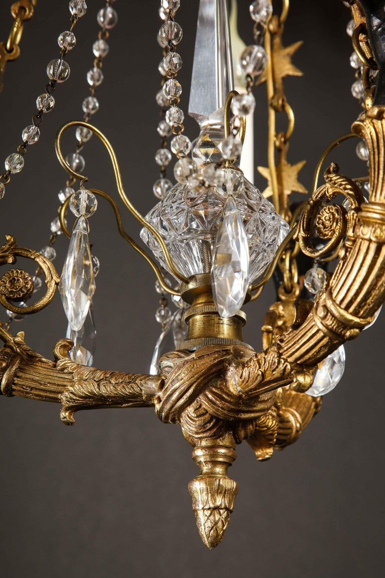 Hollywood Regency Style Gilt Bronze and Glass Figural Chandelier For Sale 10