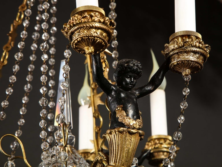 Hollywood Regency Style Gilt Bronze and Glass Figural Chandelier For Sale 11