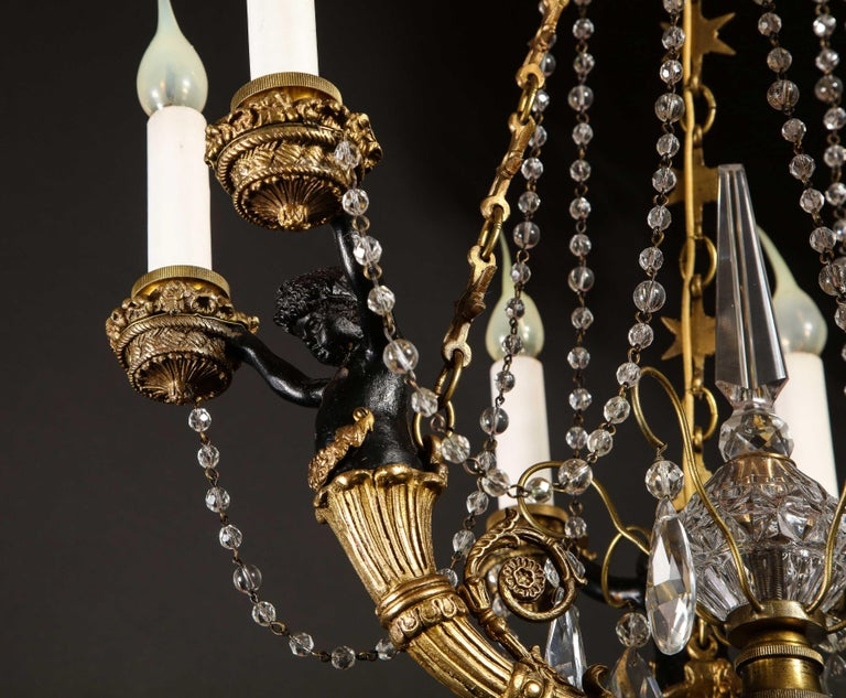 Hollywood Regency Style Gilt Bronze and Glass Figural Chandelier For Sale 12