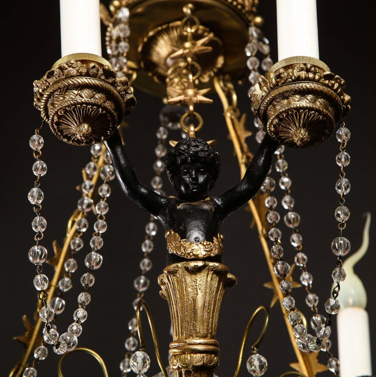 Hollywood Regency Style Gilt Bronze and Glass Figural Chandelier For Sale 15