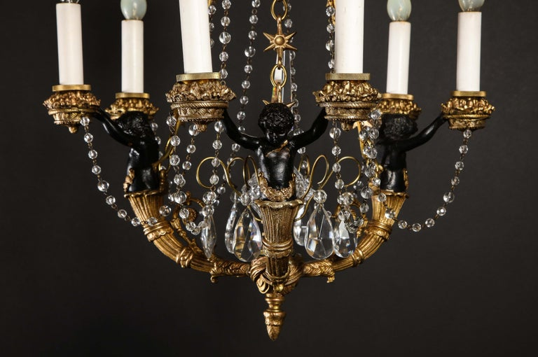 20th Century Hollywood Regency Style Gilt Bronze and Glass Figural Chandelier For Sale