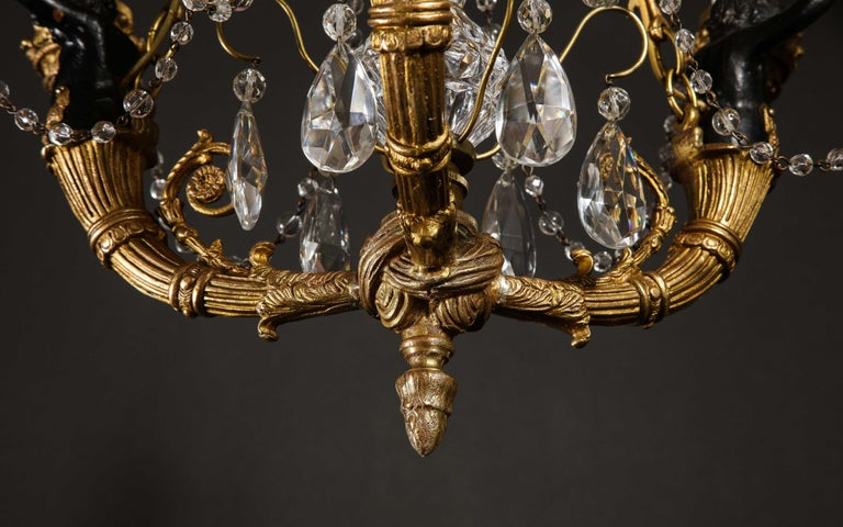 Hollywood Regency Style Gilt Bronze and Glass Figural Chandelier For Sale 2