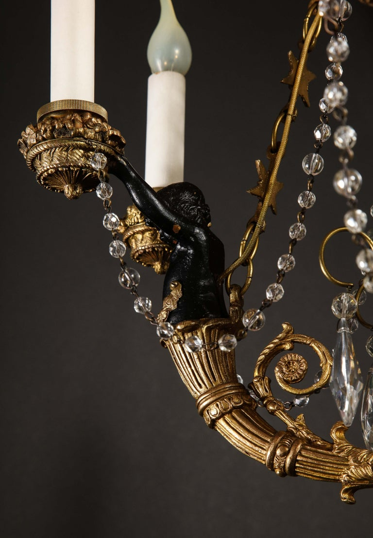 Hollywood Regency Style Gilt Bronze and Glass Figural Chandelier For Sale 3