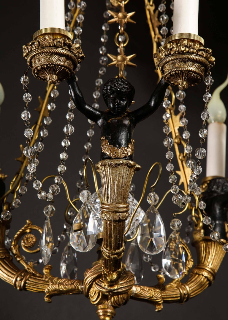 Hollywood Regency Style Gilt Bronze and Glass Figural Chandelier For Sale 4