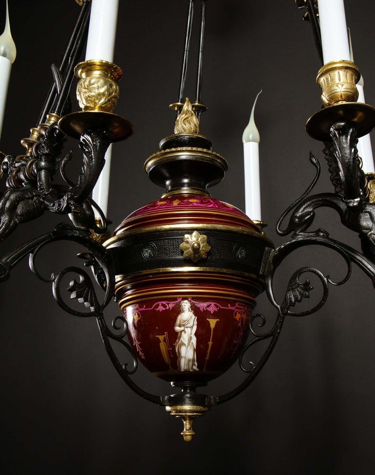 Hollywood Regency Style Gilt Bronze and Red Porcelain Figural Chandelier For Sale 6