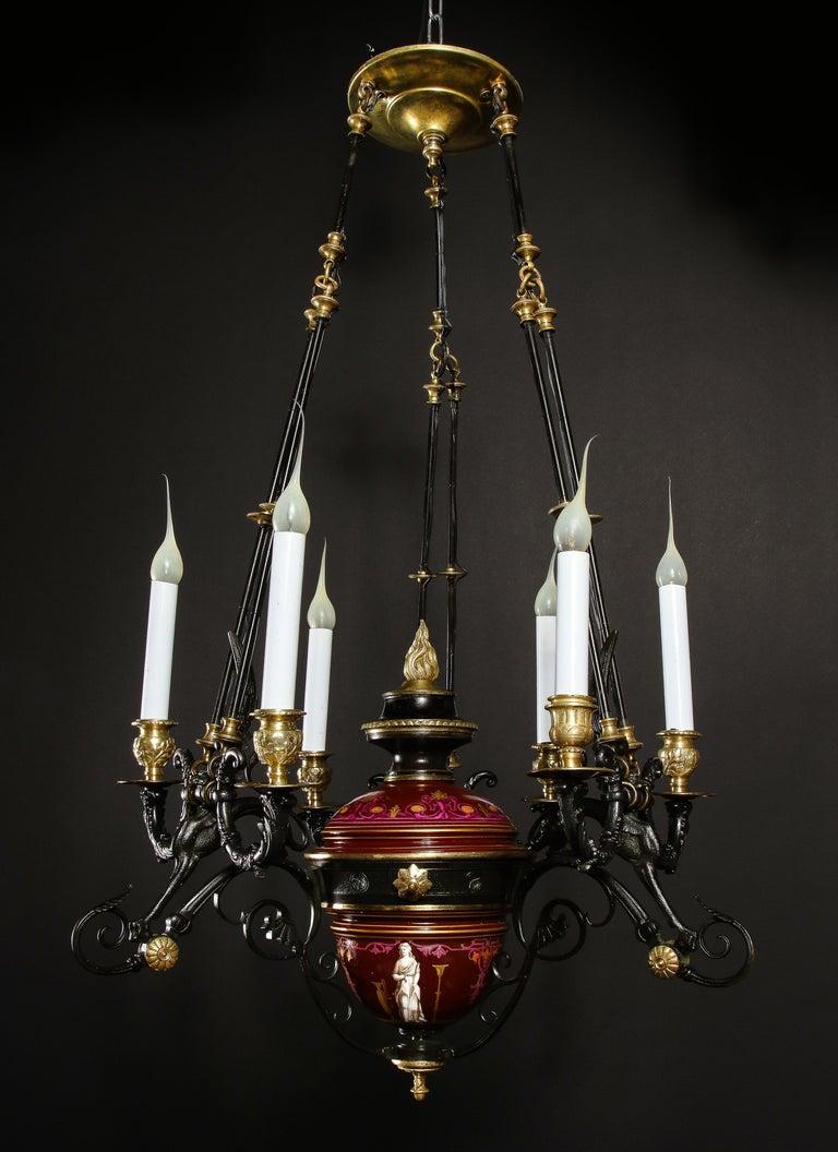 Hollywood Regency Style Gilt Bronze and Red Porcelain Figural Chandelier For Sale 9