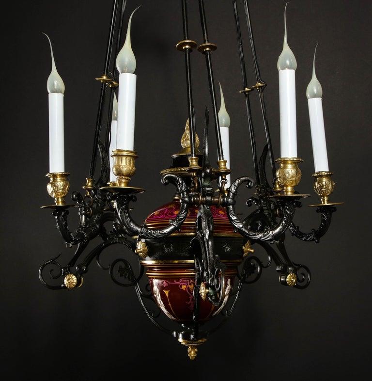 Hollywood Regency Style Gilt Bronze and Red Porcelain Figural Chandelier For Sale 10