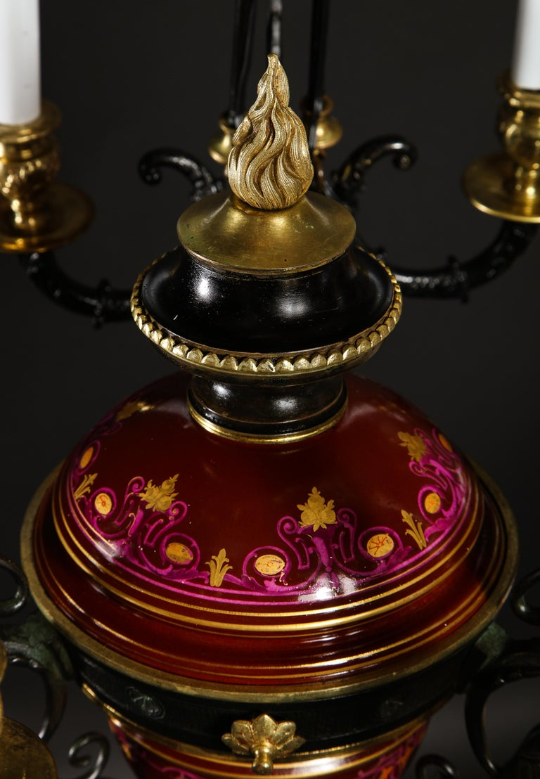 Hollywood Regency Style Gilt Bronze and Red Porcelain Figural Chandelier For Sale 13