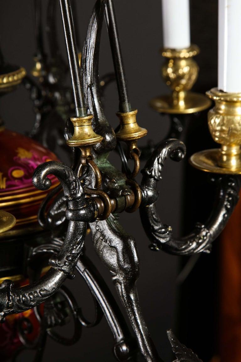 Hollywood Regency Style Gilt Bronze and Red Porcelain Figural Chandelier For Sale 15