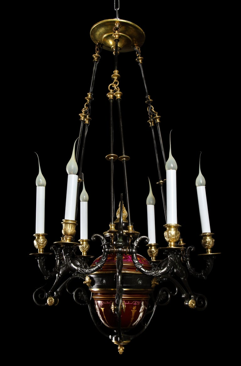 French Hollywood Regency Style Gilt Bronze and Red Porcelain Figural Chandelier For Sale