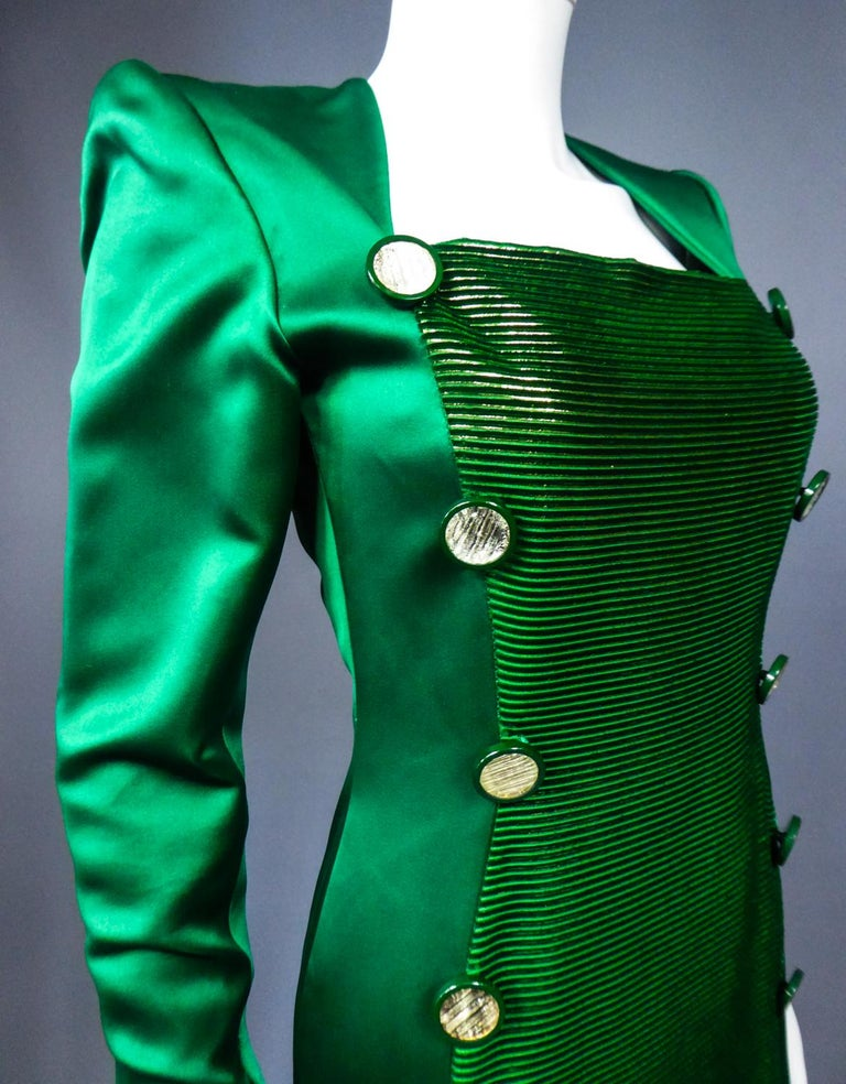 A Hubert de Givenchy Catwalk Dress in Satin and Lamé Velvet Circa 1985 For Sale 6