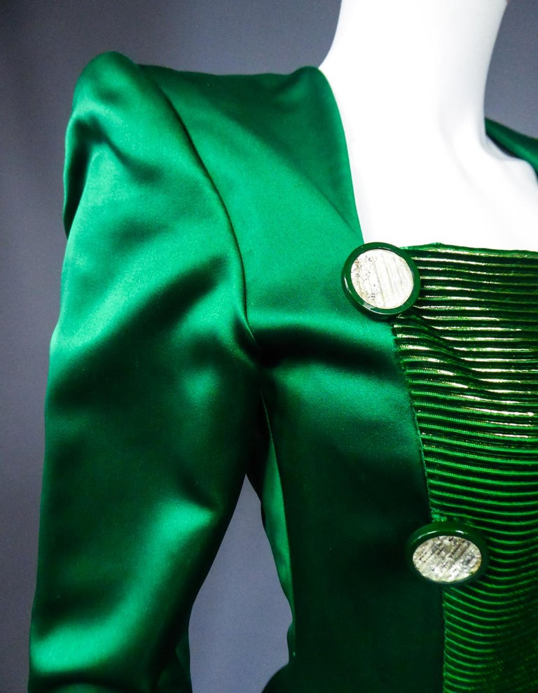 A Hubert de Givenchy Catwalk Dress in Satin and Lamé Velvet Circa 1985 For Sale 7