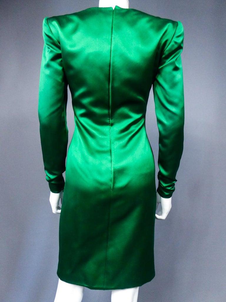 A Hubert de Givenchy Catwalk Dress in Satin and Lamé Velvet Circa 1985 For Sale 9