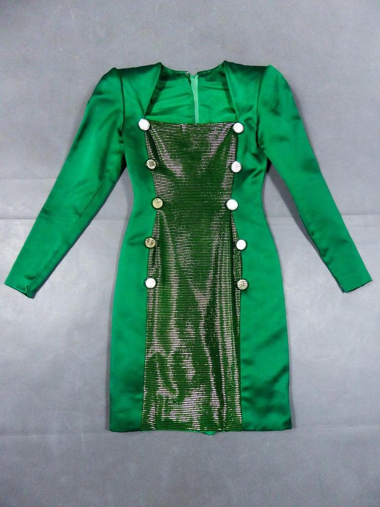 Green A Hubert de Givenchy Catwalk Dress in Satin and Lamé Velvet Circa 1985 For Sale