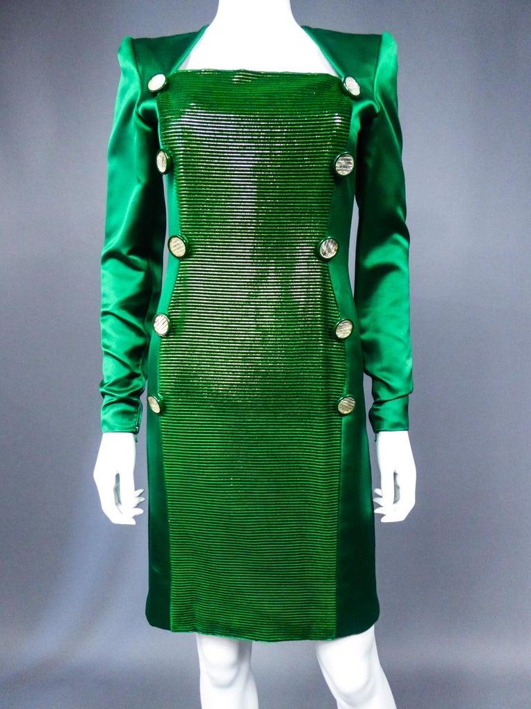 Women's A Hubert de Givenchy Catwalk Dress in Satin and Lamé Velvet Circa 1985 For Sale