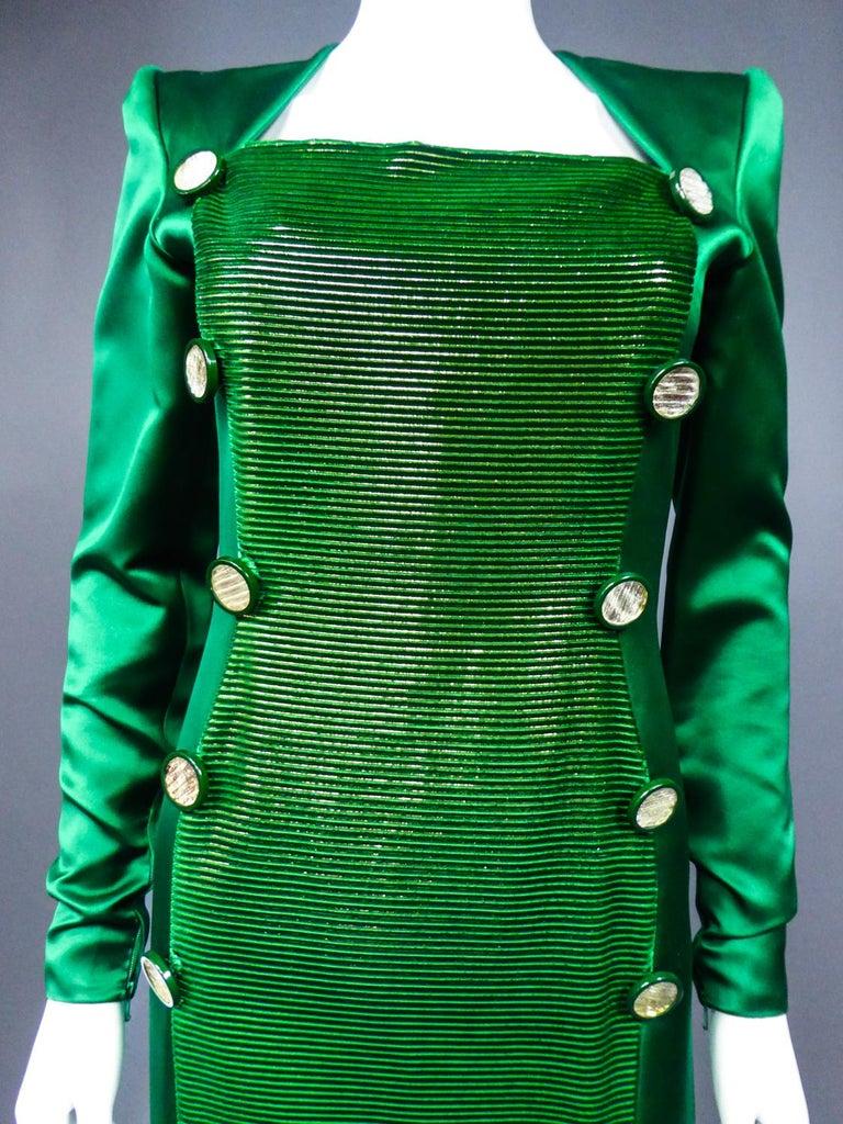 A Hubert de Givenchy Catwalk Dress in Satin and Lamé Velvet Circa 1985 For Sale 1