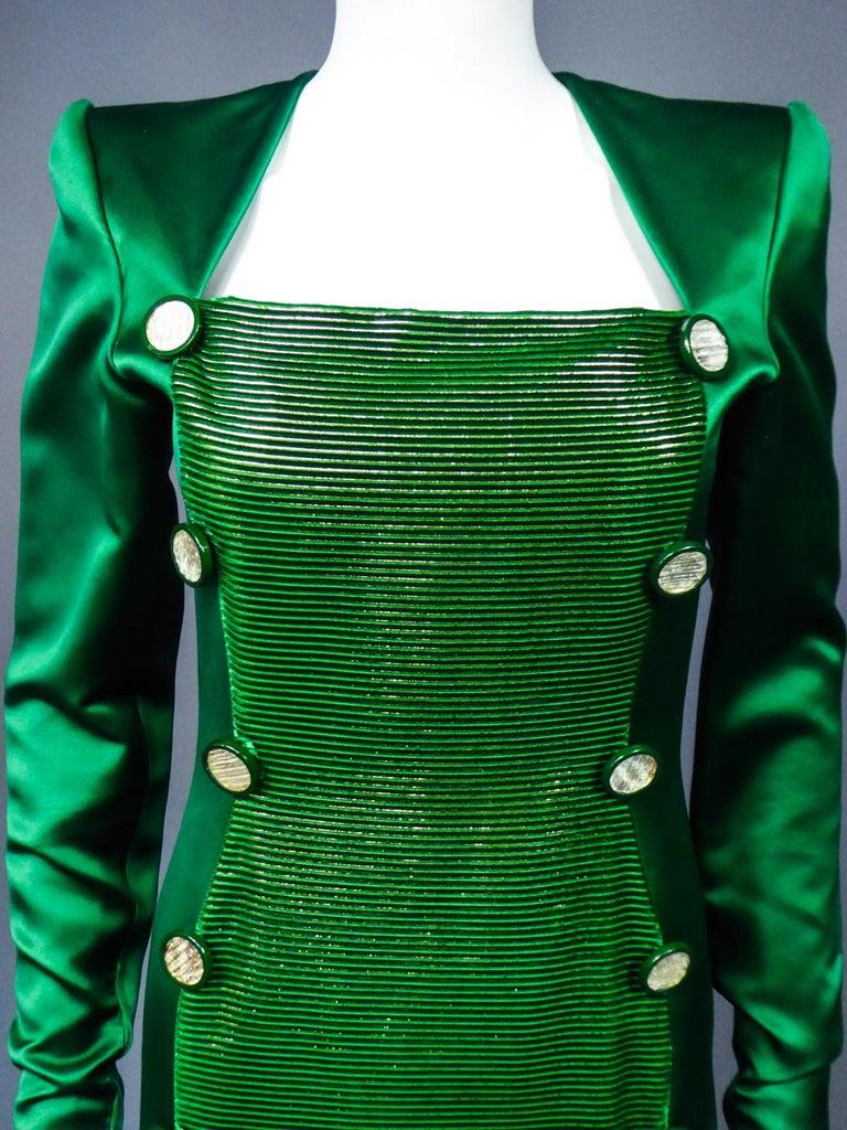 A Hubert de Givenchy Catwalk Dress in Satin and Lamé Velvet Circa 1985 For Sale 2