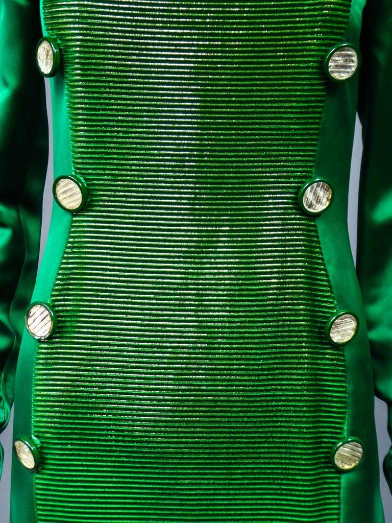A Hubert de Givenchy Catwalk Dress in Satin and Lamé Velvet Circa 1985 For Sale 3