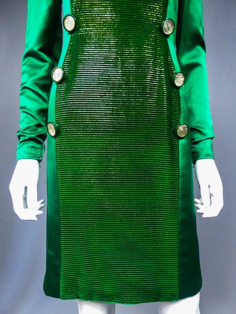 A Hubert de Givenchy Catwalk Dress in Satin and Lamé Velvet Circa 1985 For Sale 4