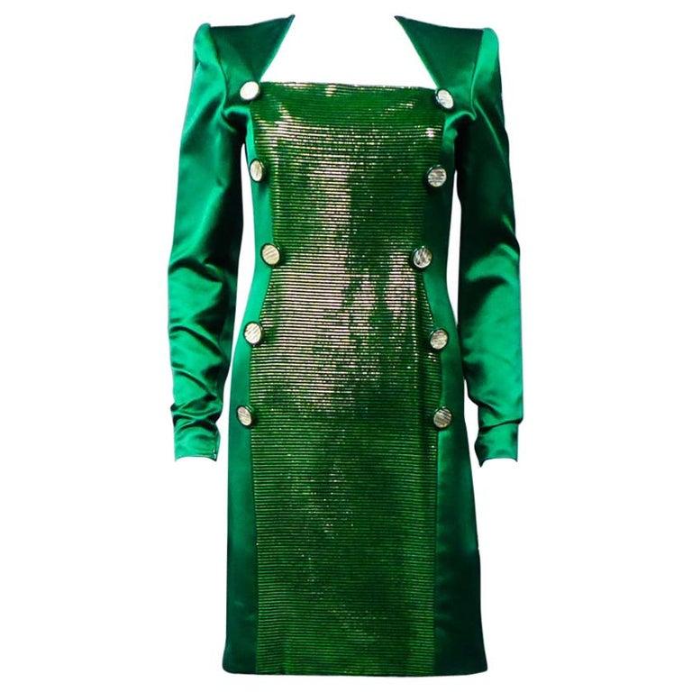 A Hubert de Givenchy Catwalk Dress in Satin and Lamé Velvet Circa 1985 For Sale