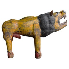 Huge Indian Folk-Art Lion Figure