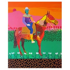 'A Hunk on a Horse' Figurative Portrait Painting by Alan Fears Pop Art