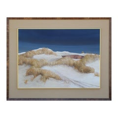 Large White and Blue Beach Sand Dune Nautical Nature Landscape Painting