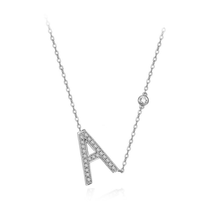 Modern A Initial Bezel Chain Necklace For Sale
