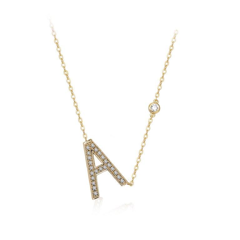 Trillion Cut A Initial Bezel Chain Necklace For Sale