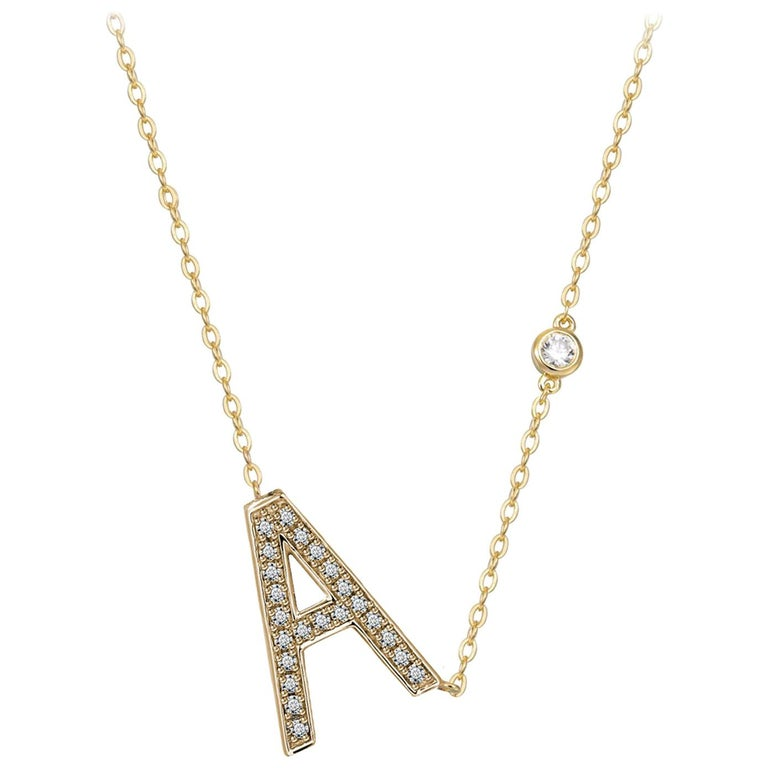 A Initial Bezel Chain Necklace For Sale