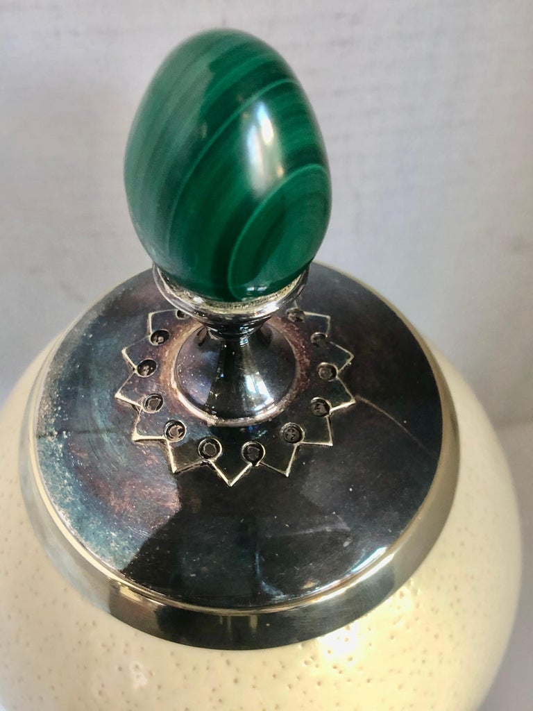 English A J. Antony Redmile Ostrich Egg Box with Malachite Egg Finial For Sale